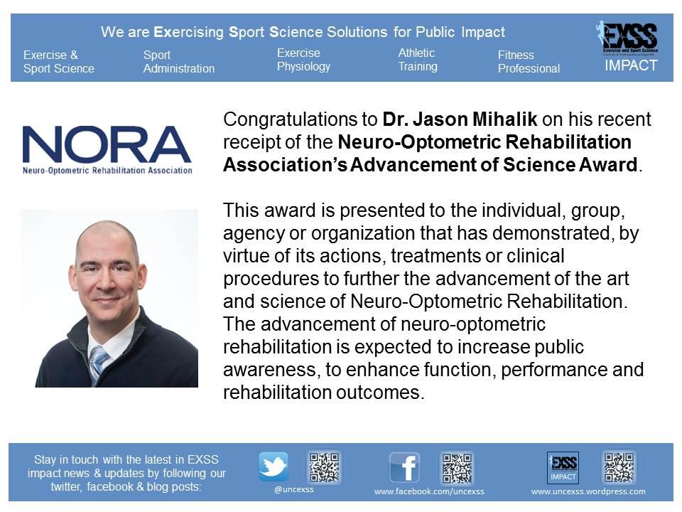 Jason Mihalik - Neuro-Optometric Rehab Award 4 14 14