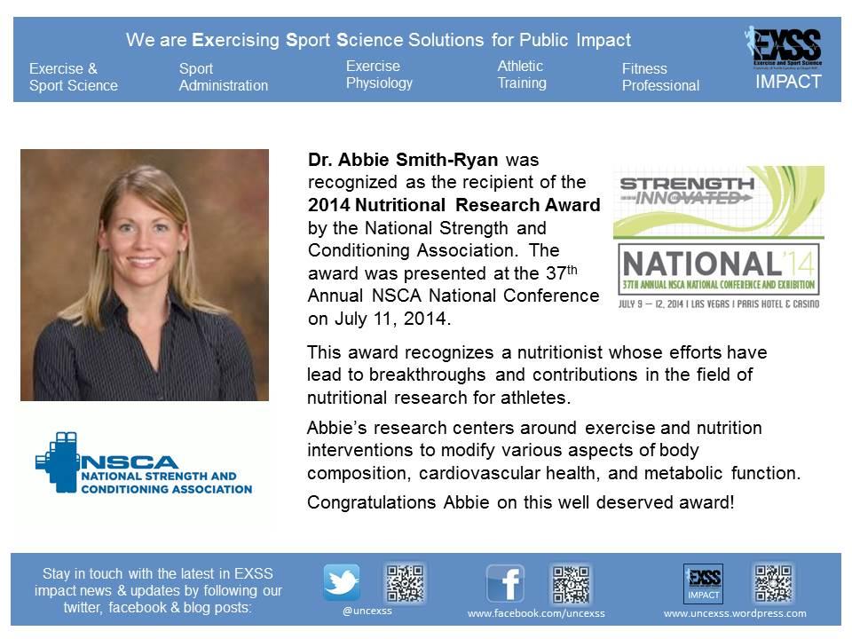 Abbie Smith-Ryan Nutritional Research Award 2014